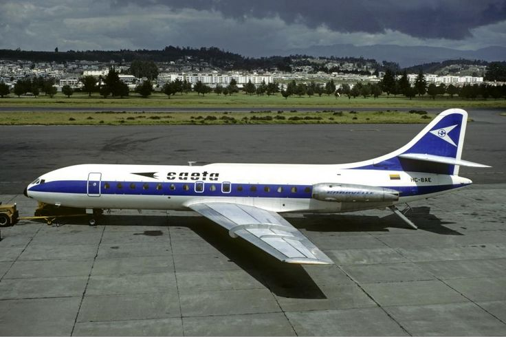 SAETA Ecuador Sud Aviation Caravelle at @AeropuertoUIO 1982 - wikimedia
