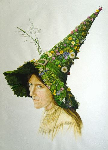I absolutely love this..... ☆ Ostara's Bonnet: A pagan 'take' on the Easter bonnet idea. Ostara was the ancient Saxon Goddess of the Spring. Her festival was taken over by Christianity, but her influence lives on as 'Easter' is an alternative spelling of her name .:¦:. By Artist Una Woodruff ☆
