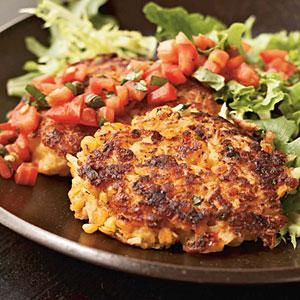 Crisp on the outside and creamy on the inside, these salsa-topped, red-lentil rice cakes make a lovely vegetarian entrée. They offer a great way to use leftover basmati rice; if you're starting with cooked rice, use about 1 1/2 cups. Add mixed greens to the plate for even more color.