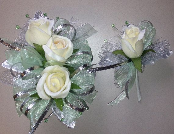 Mint Green Silk Corsage n Boutonniere Set  by FlorescenceByDesign, $26.95