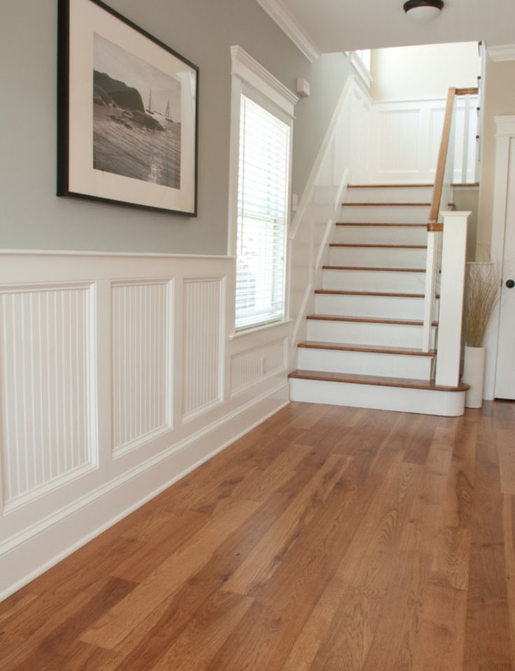 I want to do this wainscoting in my entry hall. I also love the light blue, but maybe a light grey?