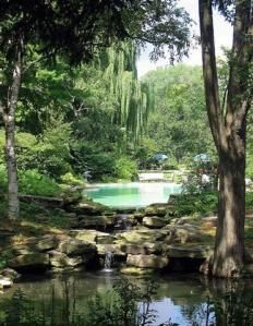 natural swimming pool. pool drains as fountain for pond