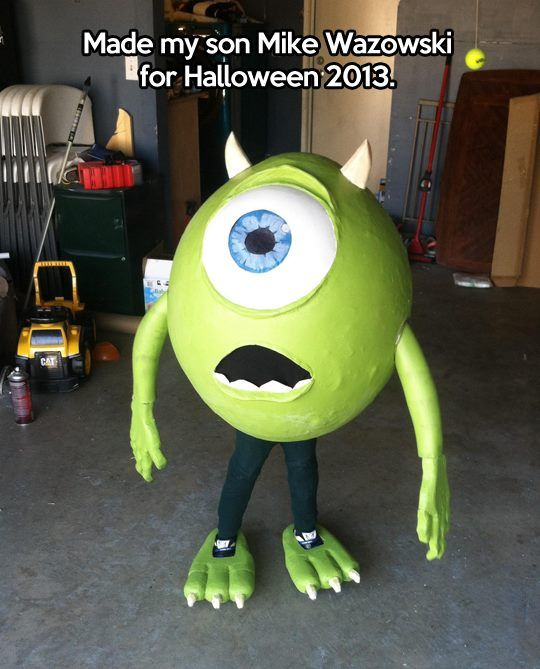 Mike Wazowski costume... What do you think Grandma? We can make Christian into Sully