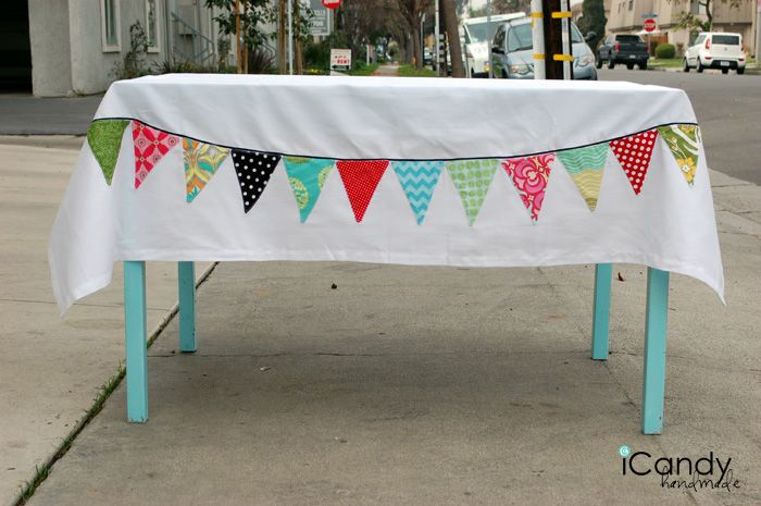 this just makes so much sense to make it and always have it for celebrations.......i'm gonna get on it! Bunting Tablecloth