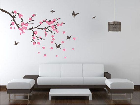 Branch With Flowers And Butterflies Wall Decal