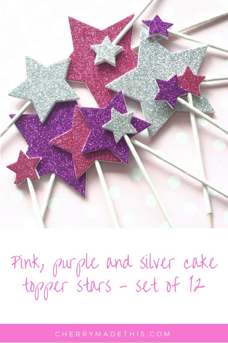 Pink, purple and silver cake topper stars - set of 12 available from CherryMadeThis.com