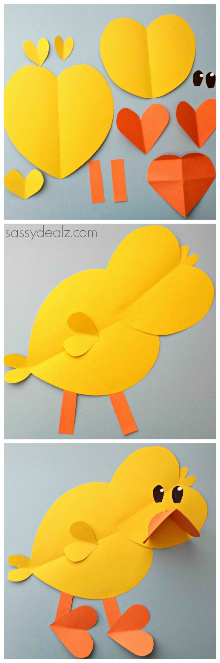 Chick Craft For Kids made out of paper hearts #DIY #Easter art project #Valentines heart shape animal | http://www.sassydealz.com/2014/02/paper-chick-craft-kids.html