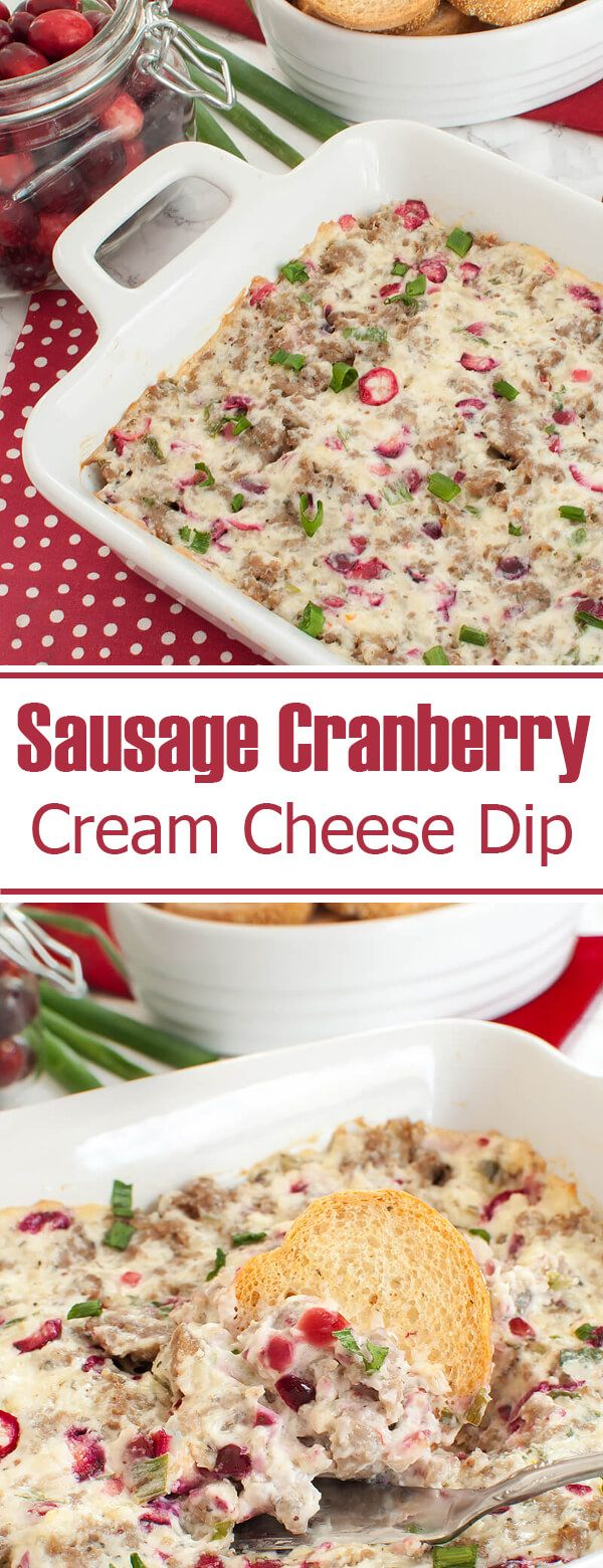 Easy appetizer recipe for Thanksgiving or Christmas. This Sausage Cranberry Cream Cheese Dip is cheesy, colorful and perfect for a holiday party. Serve dip hot with baguette slices or crackers. Sage and green onions add a savory combination to the sausage and fresh cranberries add just a bit of tang and color.