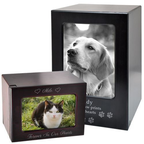Slider Wooden Pet Urn | Photo Urns for Dogs and Cats | Memorial Gallery Pets