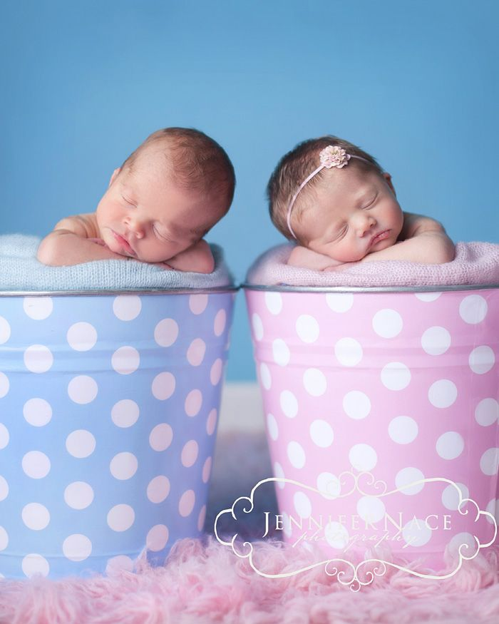 Adorable girl boy twin newborn idea