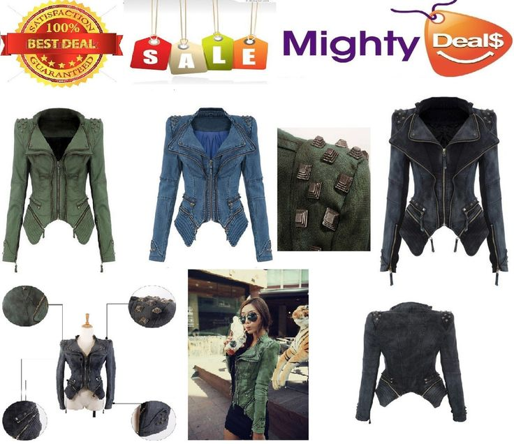 Faket High Quality Women Jean Jacket Spike Studded Shrug Rivet Shoulder Spring Autumn Denim jacket Vintage Coat