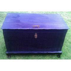 Stunning, Vintage, Solid Wood, Charred / Blackened Trousseau Chest 103cm x 54cm x 43cm Deep