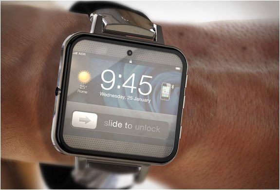 !Watch2....The visionary concept features   32GB memory, wiFi and bluetooth connections to the iPhone/iPad, face   camera, and an LCD projector