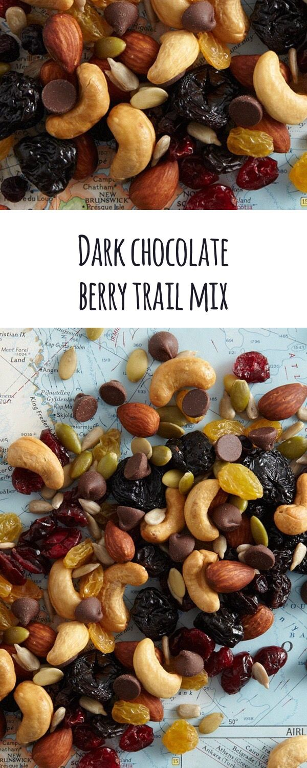 Dark Chocolate Berry Trail Mix: Tide yourself over with this mix of berries, nuts, seeds, and semi-sweet chocolate chips.