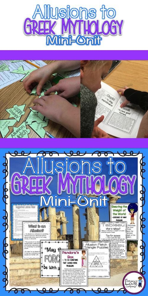 This TITAN of a mini-unit includes an amazing assortment of resources to help you teach allusions and words and phrases from Greek mythology. The unit includes ★ lesson plans, ★ examples of allusions, ★ student foldable, ★ student booklet of words and phrases from Greek myths, ★ color posters, ★ an art integration piece, ★ a literacy center support activity, and more! $ - Literacy Loves Company