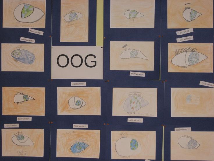 """oog tekenen. (dit keer met de wereld erin gespiegeld tijdens """"hallo wereld"""" thema kinderboekenweek 2012)"""