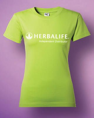 Ladies Fit Green Herbalife Long Logo T shirt