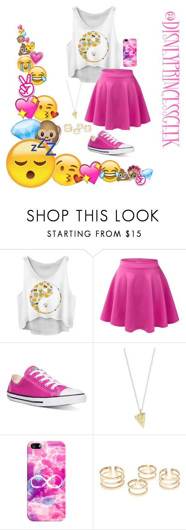 """emoji party"" by blackfashion123 ❤ liked on Polyvore featuring LE3NO, Converse, Rock 'N Rose and Casetify"