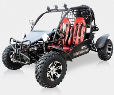 BMS Sand Sniper 400. 359cc Gas, 5 Speed Semi-Automatic Dune Buggy & Go Kart. 27HP/359cc Honda clone oil-cooled Engine, Electric Shifting, 5 Speed Semi-Automatic, Rear Shaft driven differential. (Extra Tire and Winch is optional, not included). Some assembly required!