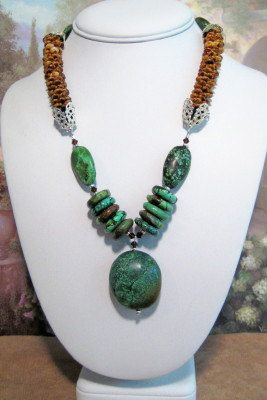 Turquoise and Kumihimo Necklace with Matching by dkdesigns8238, $63.75