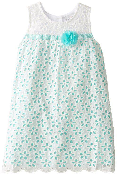 Rare Editions Little Girls' Eyelet Dress, White/Aqua, 5