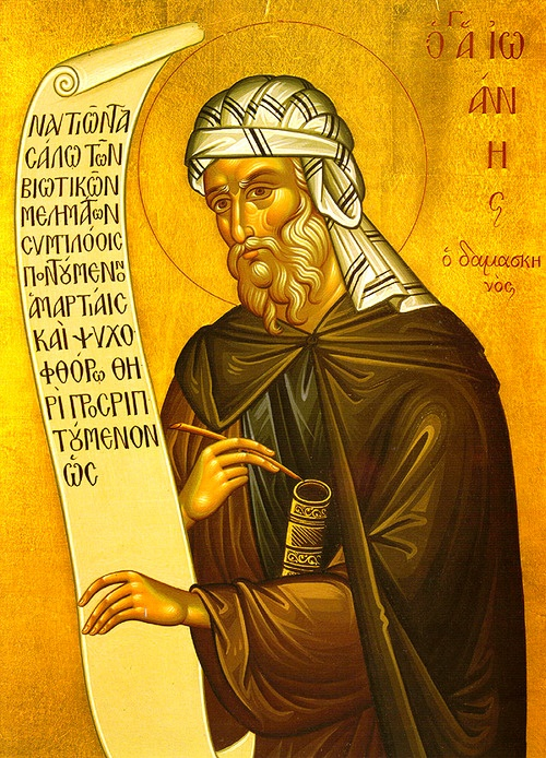 City-governor John Damascene (680-780 Damascus, Syria) defended Faith against Iconoclasm. Emperor accused betrayal; caliph had J's right hand cut off. J prayed to Virgin Mary. Asleep he saw Her icon, heard Her say he was healed, commanding him to work. Awake the hand was intact. J gave all away, went to a Jerusalem monastery. Elder forbade J to write (pride) and made him sell baskets and remove waste until Virgin Mary appeared to him commanding to let J write. J wrote spiritual books and…