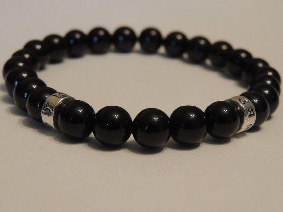 Mens Mantra Protection Grounding Bracelet - Black Onyx Agate Gemstone Bead-Buddhist Mantra Silver Beads-Om Mani Padme Hum-Tibetan Script.
