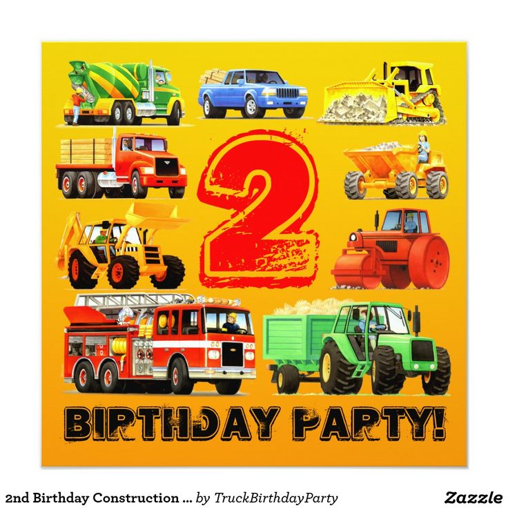 2nd Birthday Construction Truck Party 5.25x5.25 Square Paper Invitation Card