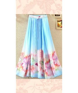 Mind Blowing Blue And Pink Georgette Skirt.