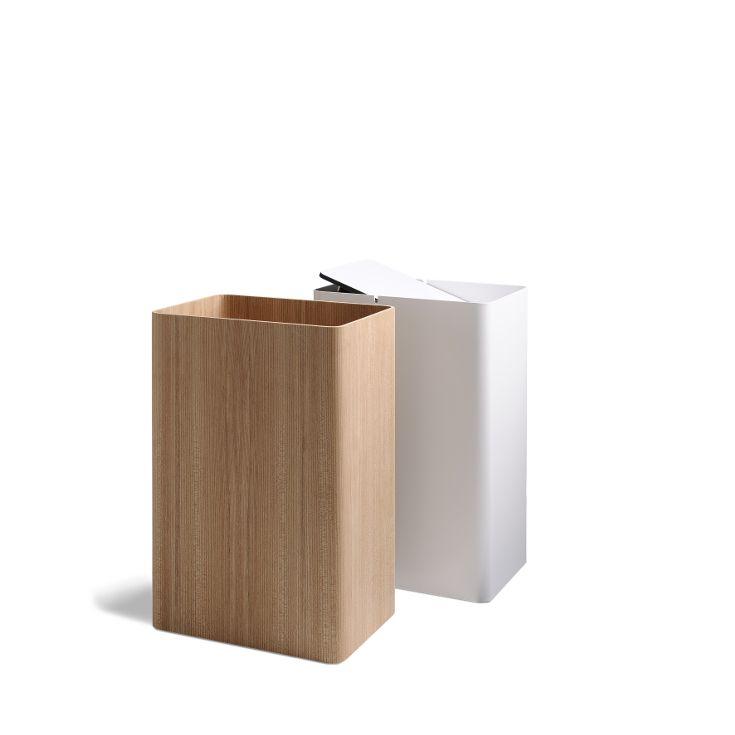 In elm as a paper bin. Or in metal with sving lid.