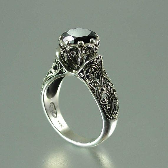 Black Diamond: Gold Engagement Rings, 14K Gold, Diamonds Rings, Gold Rings, Enchanted Princesses, Diamonds 14K, Wedding Rings, Black Diamonds, Princesses Black
