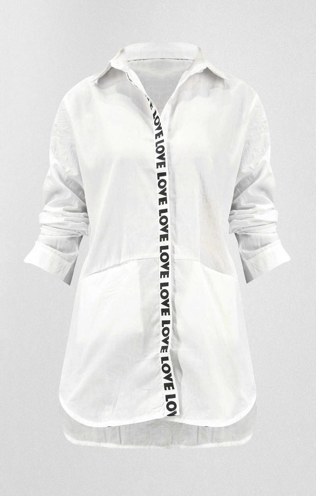 Γυναικεία πουκαμίσα love | Nέες Παραλαβές - Γυναίκα | Metal Λευκό