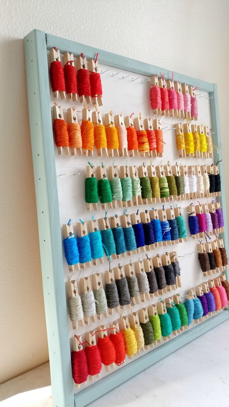 An embroidery floss organizer is a great way to keep your skeins organized and they look so pretty on the clothespins!
