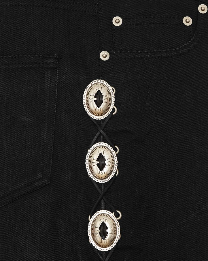 saintlaurent, JEANS SKINNY ORIGINAL Concho A VITA BASSA neri in DENIM STRETCH grezzo