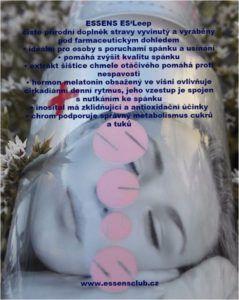 Trpíte nedostatkem spánku? Vyzkoušejte ESSENS ES'Leep   Essens Club Czech - ES'Leep je pro všechny osoby, které chtějí podpořit kvalitní spátek. Maximální účinky ES'Leep se projeví při dodržování správné spánkové hygieny.  http://essensclub.cz/nedostatek-spanku/