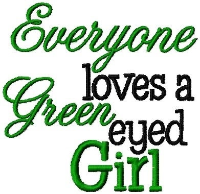 Green Eyed Girl Embroidery Design INSTANT by BrandysCustomDesigns