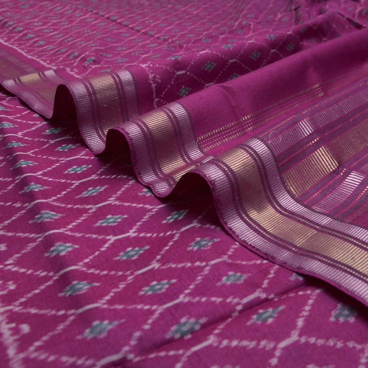 Handwoven Lotus Pink Ikkat Silk Sari with Honeycomb Design 060511048