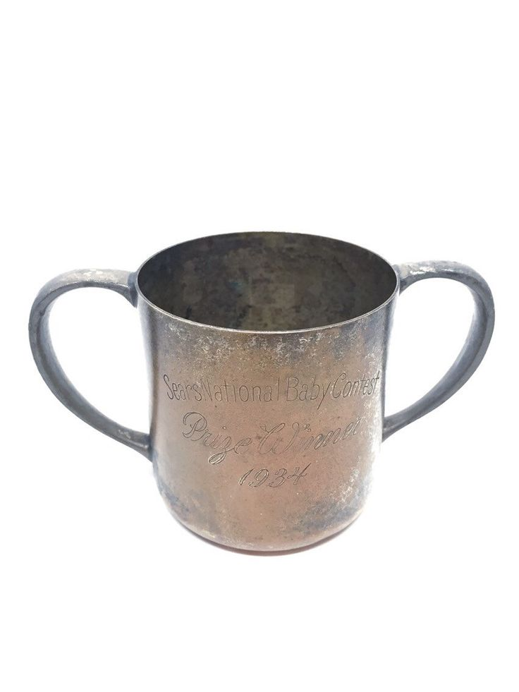 Baby Cup, Trophy Cup, Monogramed Trophy, Engraved Trophy, Trophy Prize Winner 1934, Sears Baby Contest Cup, Shabby Chic, Fixer Upper by VintageHomeLiving on Etsy https://www.etsy.com/listing/264200685/baby-cup-trophy-cup-monogramed-trophy