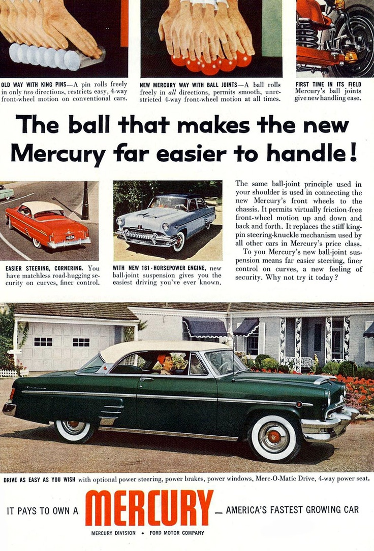Vintage 1954 mercury full page color ad
