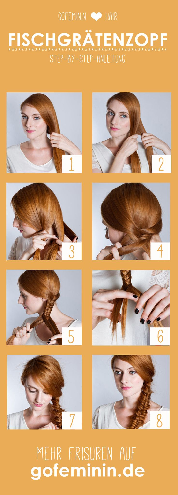 Trendfrisur Fischgrätenzopf: So flechten ihr ihn selbst!  Jetzt auf gofeminin.de! #gofeminin #beauty #hair #fishtailplait #braids
