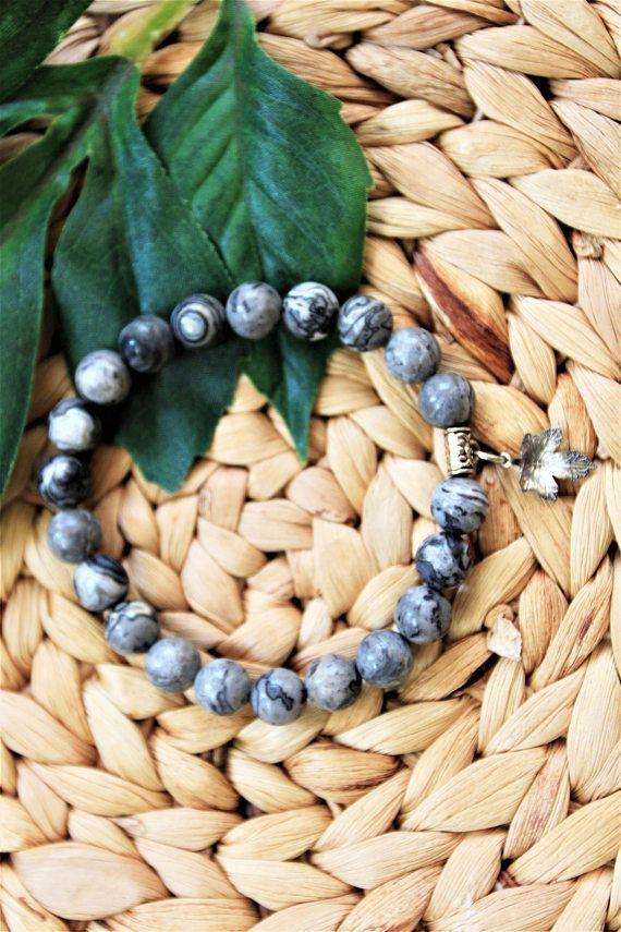 Dark Grey Beaded Bracelet  Womens Beaded Bracelet  Gemstone