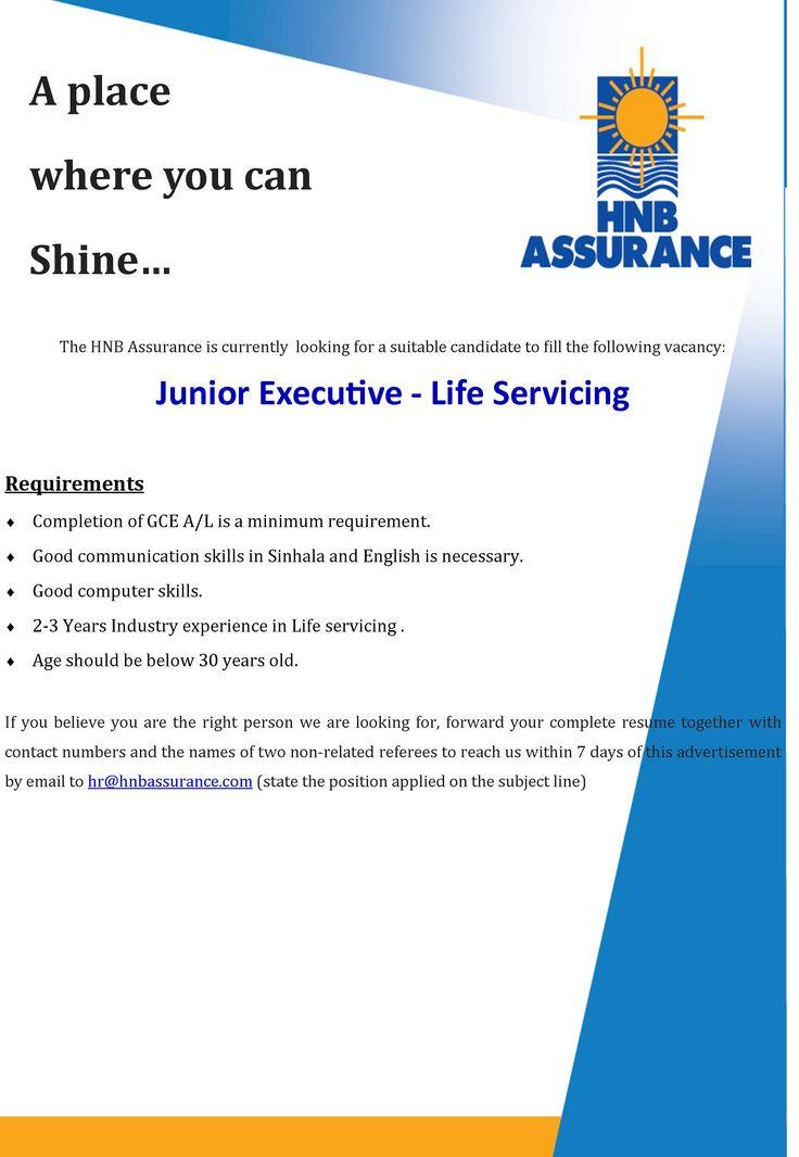 Junior Executive (Life Servicing) at HNB Assurance PLC | Career First