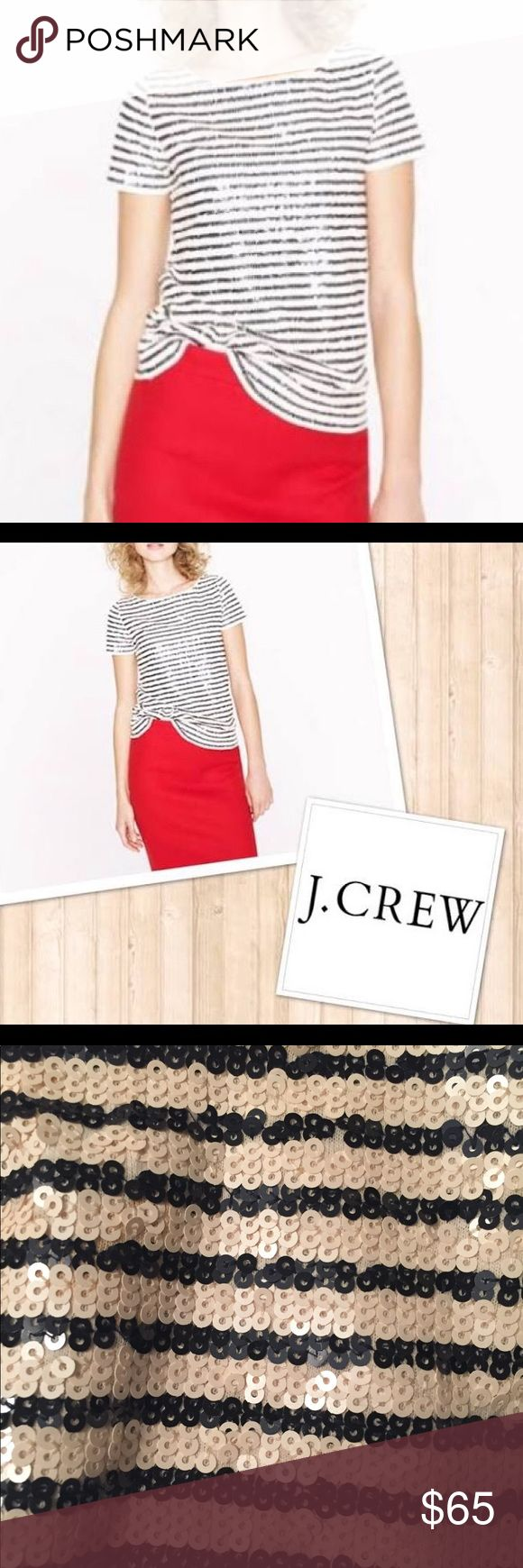 J.Crew black and Winter white sequin top-NWOT J.Crew gorgeous sequin top that with striped black and winter white. Great or layering or wearing for a special occcasion. Lined under the collar so it doesn't stratch.a must have in forever chic sailer stripes. All Hand finished sequin.  A luxe texture with a hint of shimmer. A bateau neckline and a slim slightly a-line silhouette. 100% cotton. Hand wash cold inside out. Lay flat to dry. Do not wring. Warm iron on reverse side. J. Crew Tops…