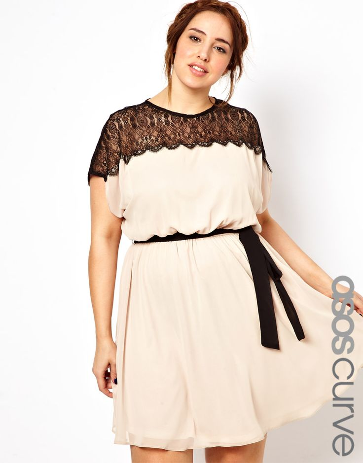 ASOS CURVE - Skater Dress With Scallop Lace