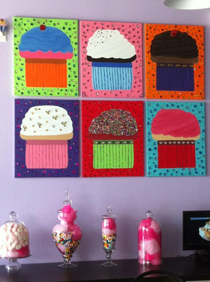 Cupcake Paintings for Art Club