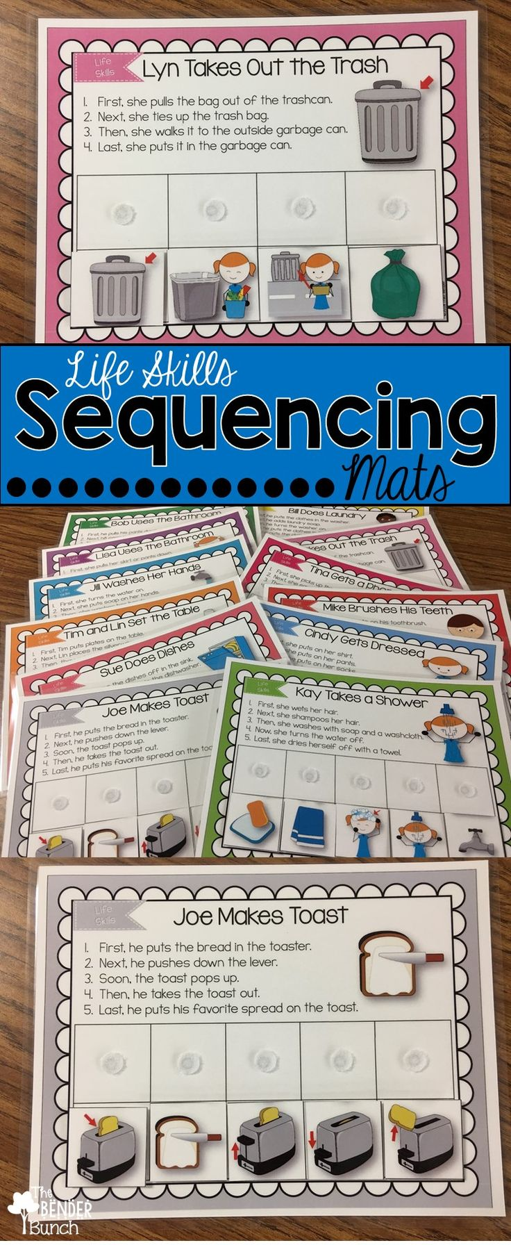 Teach life skills, sequencing, transitional words, following directions, language skills, and listening skills All-in-One with these Life Skills Sequencing Mats!
