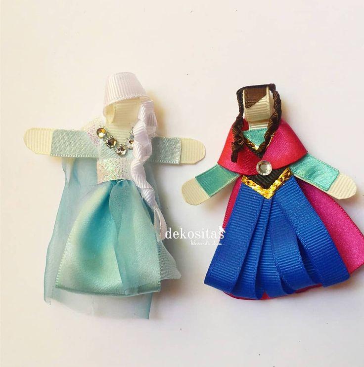 Elsa y Ana . . . #frozen #disney #ribbonhair #ribbonclips #ribbonart #liston #hechoamano #handmade #dekositas