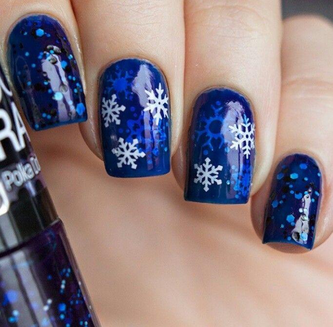 Winter holiday snowflake nail art using Gosh: Cobalt Blue, jelly sandwich