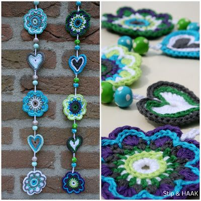 pretty crochet garlands - love the colours