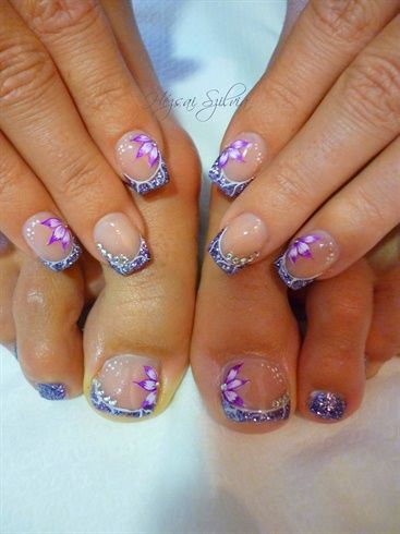acrylic+hand painted nail art: Acrylics Hands Paintings, This Is Awesome, Matching Nails And Toe, Purple Glitter, Purple Nails, Toe Nails, Nails Polish, Paintings Nails Art, Acrylichand Paintings